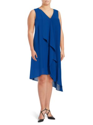 Asymmetric Draped-Front Dress by Adrianna Papell