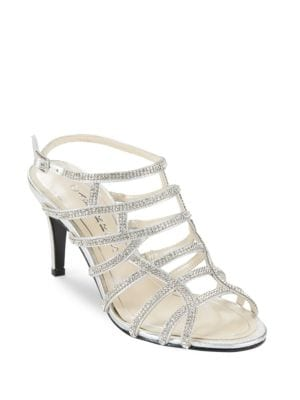 Harmonica Rhinestone Leather Stiletto Sandals by Caparros