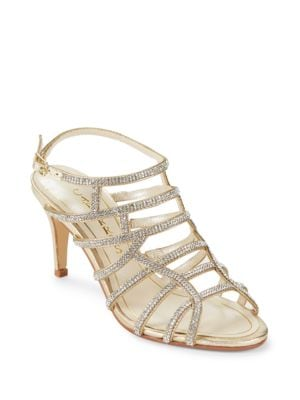 Harmonica Embellished Leather Stiletto Sandals by Caparros