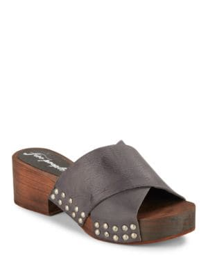Sonnet Platform Criss-Cross Leather Clogs by Free People