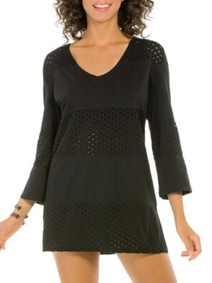 Spliced V-Neck Cover-Up Tunic by Ecoswim