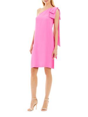 Solid Asymmetric-Neck Sleeveless Dress by Nicole Miller New York