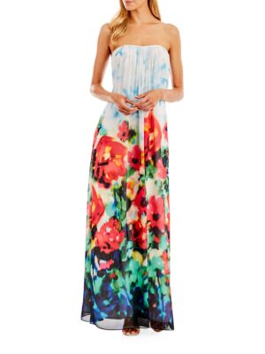 Strapless Draped Printed Chiffon Gown by Nicole Miller New York