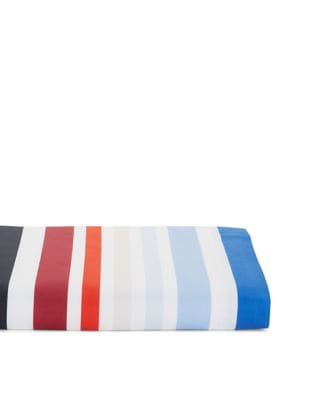 Multicolor Stripe Cotton Queen Flat Sheet
