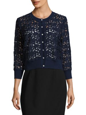 Open Floral Lace Cardigan by Karl Lagerfeld Paris