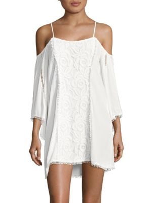 Embroidered Cold-Shoulder Cover-Up Tunic by LSpace