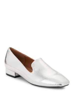 Sammy Metallic Faux Leather Smoking Flats by Design Lab Lord & Taylor
