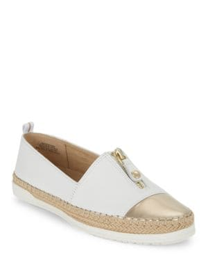 Zipdown Leather Espadrille Loafers by Anne Klein