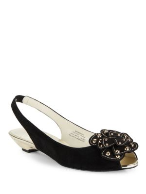Farrah Peep Toe Studded Suede Slingbacks by Anne Klein