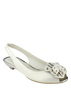 Farrah Peep Toe Leather Slingbacks by Anne Klein