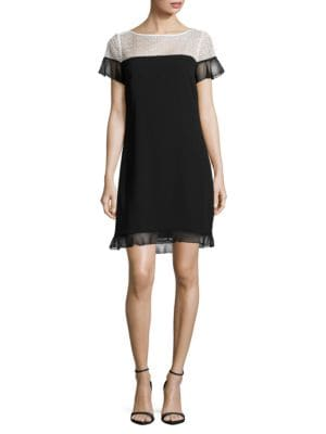 Lace-Trimmed Ruffled Shift Dress by Karl Lagerfeld Paris