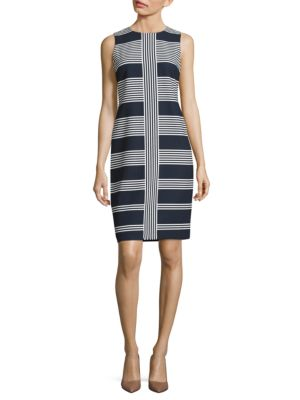 Jewelneck Sleeveless Striped Dress by Taylor