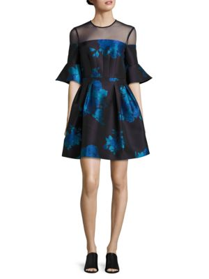 Belle Floral Fit-and-Flare Dress by Badgley Mischka Platinum