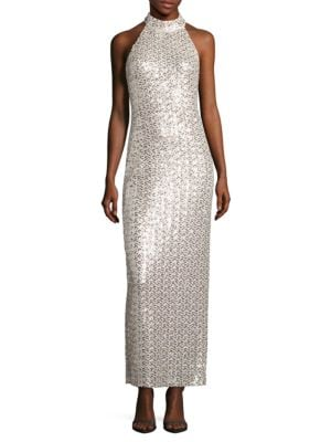 Sequin-Embellished Halter Dress by Belle Badgley Mischka