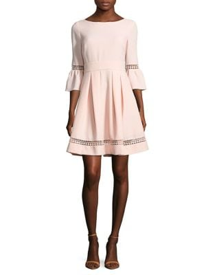 Bell-Sleeve Crochet Fit-&-Flare Dress by Eliza J