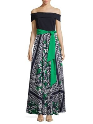 Off-the-Shoulder Printed Chiffon Maxi Dress by Eliza J