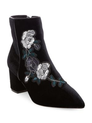 Brits Embroidered Velvet Booties by Steven by Steve Madden