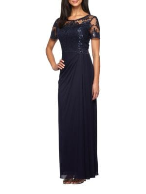 Theia Beaded Embroidered Gown Lordandtaylor