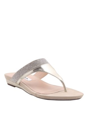 Micayla Metallic Suede Thong Sandals by Nina