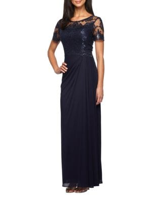 Short Sleeve Embroidered Column Gown by Alex Evenings