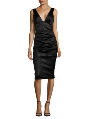 Ruched Crinkle Sheath Dress by Nicole Miller