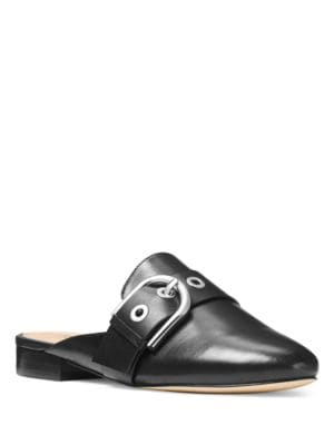 Cooper Round-Toe Leather Slides by MICHAEL MICHAEL KORS