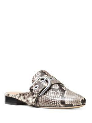 Cooper Snakeskin-Embossed Leather Slides by MICHAEL MICHAEL KORS
