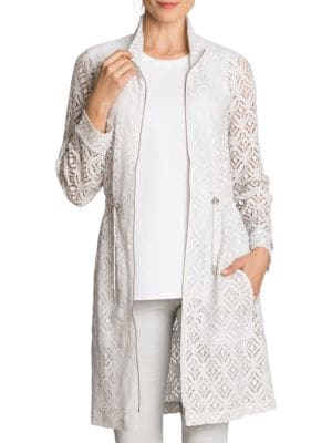 Poolside Lush Lace Trench Jacket by Nic+Zoe Plus