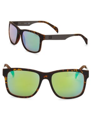 57MM Havana Soft Square Sunglasses by Guess