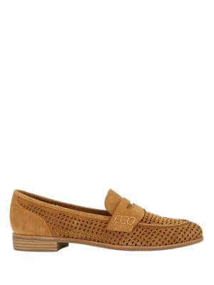 Ellie Perforated Suede Loafers by G.H. Bass