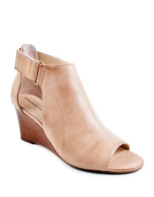 Riva Open-Toe Leather Wedge Booties by Adrienne Vittadini