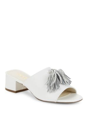Salome Leather Slide Sandals by Anne Klein