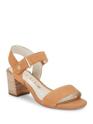 Jackie Suede Buckle Sandals by Anne Klein