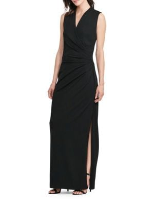 Ruched Wrap Front Gown by Lauren Ralph Lauren