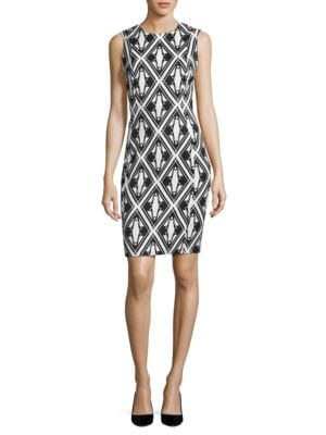 Geometric Knit Sheath Dress by Calvin Klein