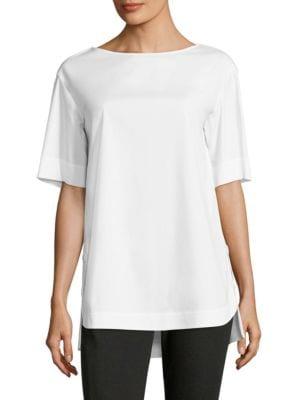 Samara Italian Stretch Cotton Blouse by Lafayette 148 New York