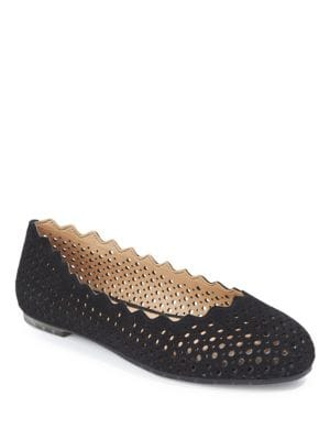 Carlee Hole-Punched Leather Ballet Flats by Me Too