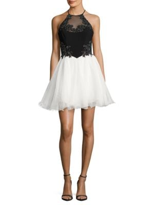 Two-Tone Rhinestone Tulle Halter Dress by Blondie Nites