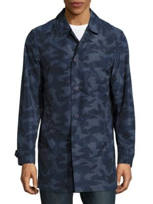 Button-Front Camp-Print Jacket by Highline Collective