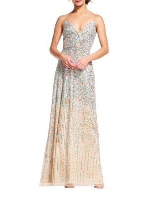 Beaded Surplice Gown by Adrianna Papell