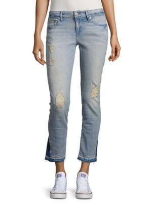 Cora Bleach-Wash Distressed Jeans by True Religion