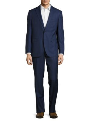 Henry Fit Windowpane Wool Blazer and Pants Suit Set by Black Brown