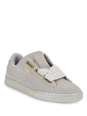 Photo of Basket Heart Suedeand Satin Sneakers by PUMA - shop PUMA shoes sales