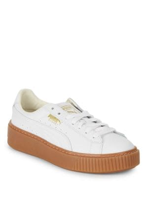 Basket Leather Lace-Up Sneakers by PUMA