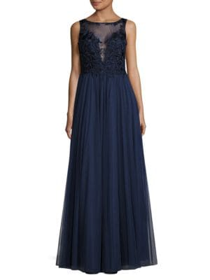 Embelllished Bodice Tulle Gown by Basix