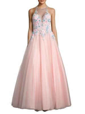 Floral Embellished Ball Gown by Basix