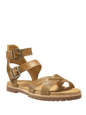 Natoma Textured Leather Ankle-Strap Sandals by Timberland