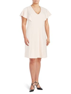 V-Neck Ruffled Dress by Calvin Klein Plus