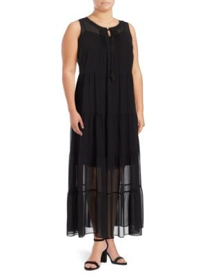 Crepe Peasant Maxi Dress by Calvin Klein Plus