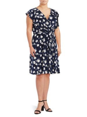 Plus Floral Mock-Wrap Dress by Ivanka Trump